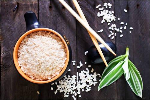 Posterlounge Leinwandbild 130 x 90 cm: Roher Reis in Schüssel von Editors Choice - fertiges Wandbild, Bild auf Keilrahmen, Fertigbild auf echter Leinwand, Leinwanddruck