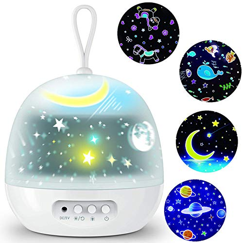 Star Projector Night Lights for Kids - 4 Set Films 360 Degree Rotating - Bedside Lamp with USB Cable, 4 LED Bulbs, 8 Color Changing - Best Gift for Kids, Party Decorations Christmas Gifts (White)