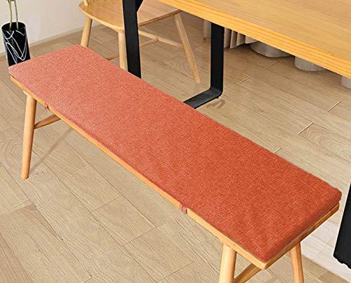 jHuanic Cojín de banco de 2/4 cm para interiores y exteriores, 100/120 cm, cojines de asiento de comedor, cojines para cocina, hogar, banco de madera (100 x 35 x 2 cm), color naranja