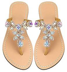 Gold Rhinestone Flat Flip Flop Sandal
