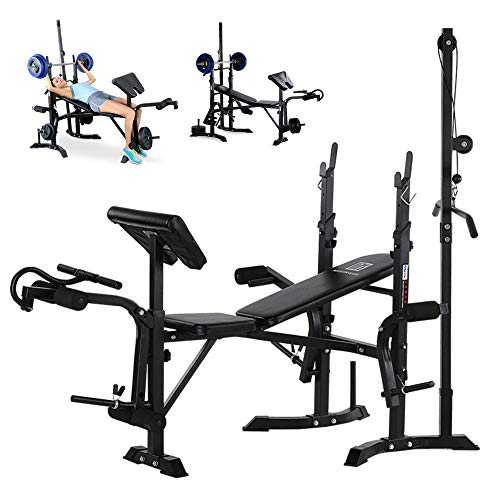Weight-lifting Bed Barbell Lift Flat Press Exercise Adjustable Incline Decline Foldable Weight Bench Body Workout Utility Strength Training Home Gym Fitness Equipment US Fast Shippment (Black)