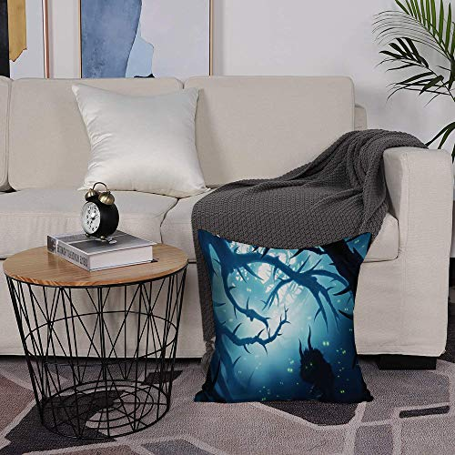 Microfiber cushion cover 50x50 cm,Mystic Decor,Animal with Burning Eyes in Dark Forest at Night Horror Hal,Sofa Waist Chair Home Office Bar Car Decor Decorative Throw Pillowcase Protectors With Zipper