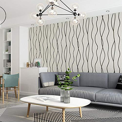 Papel pintado no tejido,Flocado simple curva moderna-blanco y negro,Papel Pintado Dormitorio Fotomurales Salon Pared,9.5mx0.53m