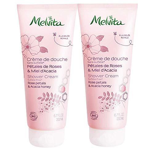 Melvita Duschcreme Blütenblätter Rosa & Akazienhonig, Set 2x 200ml