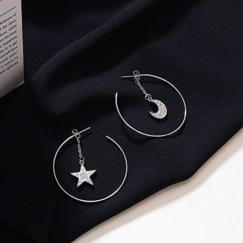 BAOZIV587 Oorbellen Kristal Mode Het water diamanten oorbellen vrouwelijke vijfpunts ster maan vallen in het oor tot oor ornamenten, de belangrijkste figuur