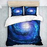 MIGAGA nórdico Juego de Ropa de Cama de 3 Piezas,otoño-Invierno,Blue Starry Sky Wirpool Universe,1 Funda Nórdica y 2 Funda de Almohada (240 x 260cm)