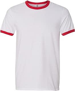 Mens Lightweight Ringer T-Shirt (988AN) -White RED -XL