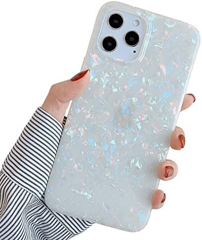 YeLoveHaw Designed for iPhone 12 and 12 Pro Case for Women Girls Glitter Pearly Lustre Shell product image