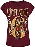 HARRY POTTER Gryffindor Mujer Camiseta Burdeos XXL, 100% algodón, Ancho