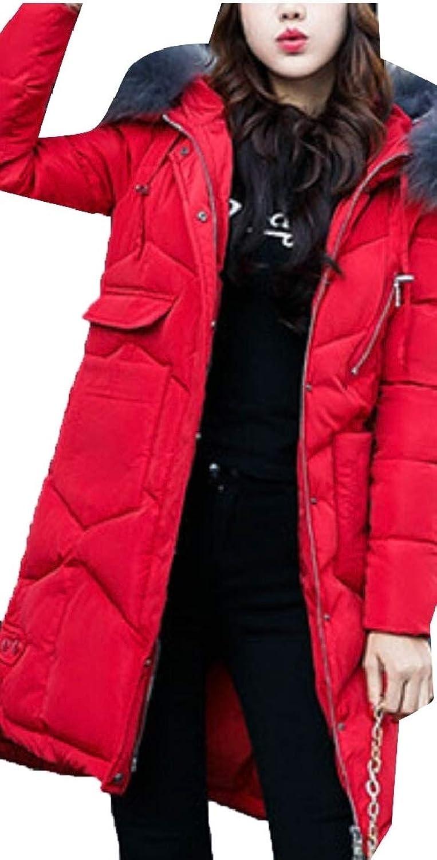 Women Long Puffer Jacket Winter Warm Hooded Coat with Fur Hood