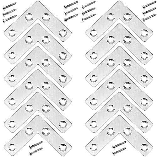 YPLonon - Juego de 12 Soporte de Ángulo de Acero Inoxidable en Forma de L 50x50x1mm Soporte Esquina 90 Grados Plano con 48 Tornillos Escuadra Plana Metalica para Fijar y Reparar Mesas Muebles