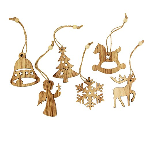 Sharplace 12 Pezzi Albero Di Natale Decorazione Abbellimenti di Legno Addobbi Appesa Ornamenti