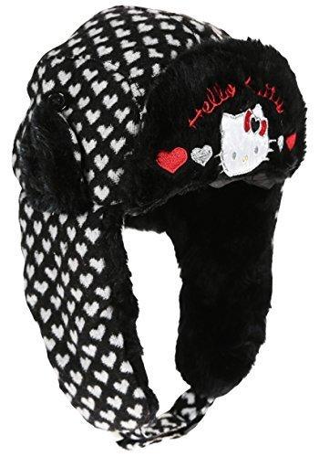 Bonnet Chapka maille et fourrure enfant fille Hello kitty 3 coloris de 3 à 9ans (54 (6-9 ans), Noir/blanc)