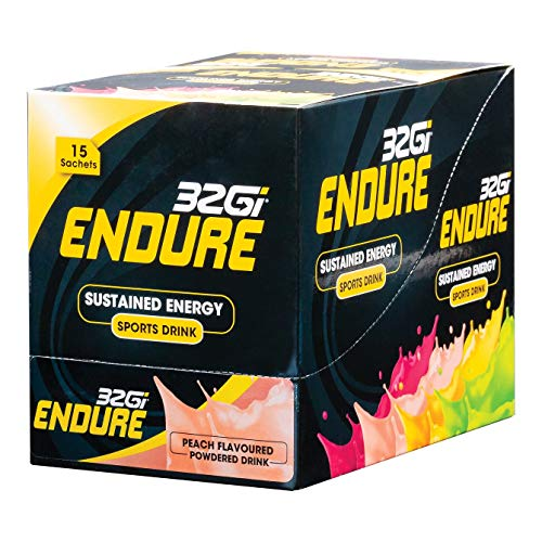 32Gi Endure Sports Drink Powder Mix for Sustained Energy, Improve Performance, Reduce Fatigue - Vegan, All Natural, Kosher, Peach (15 x 50gram Sachets)