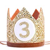 WAHAWU Baby Crown for 3st Birthday - Third Birthday Party Decoration, Glitter Crown Hat