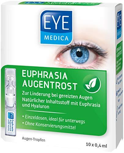 EyeMedica Euphrasia Augentrost, Euphrasia Augentropfen mit Hyaluron, zur Linderung bei gereizten Augen, für alle Kontaktlinsen geeignet, ohne Konservierungsstoffe, 10 x 0,4 ml Augen-Tropfen
