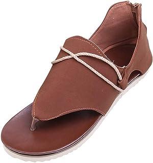 ❥Women Summer Pinch Flat-Bottomed Roman Sandals Fashion T Strap Sandals Suede Flat Sandals Open Toe Beach Sandals