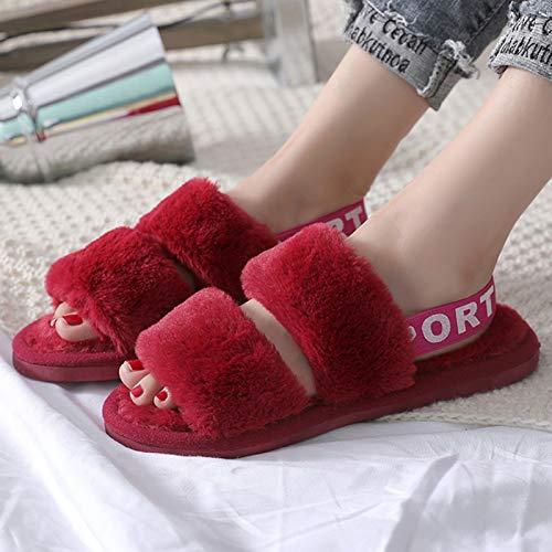 Zapatillas De Casa Difusos Para Las Mujeres, Moda Zapatillas De Piel De...