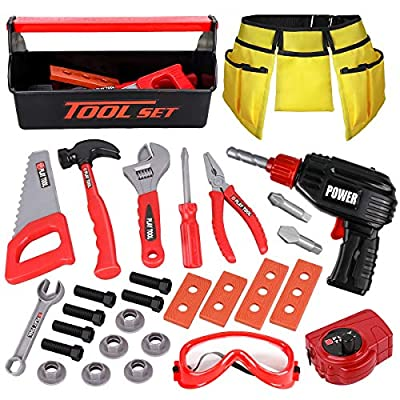 LOYO Kids Tool Set - Pretend Play Construction Toy with Tool Box Kids Tool Belt Electronic Toy Drill Construction Accessories Gift for Toddlers Boys Ages 3 , 4, 5, 6, 7 Years Old (red) from LOYO