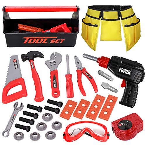 LOYO Kids Tool Set - Pretend Play Construction Toy with Tool Box Kids Tool Belt Electronic Toy Drill Construction Accessories Gift for Toddlers Boys Ages 3 , 4, 5, 6, 7 Years Old (red)