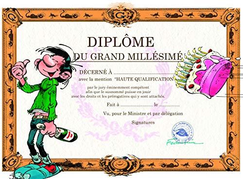 Gaston Lagaffe Geburtstagskarte Diplom du Grand Millésimé – Weinflasche, Petillant, Champagner, Kuchen, Kerzen, für Kerzen