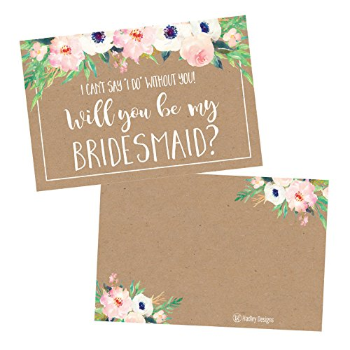 15 Rusic Floral Will You Be My Bridesmaid Cards Kraft Flowers, I Can't Say I Do Without You, Proposal Note For Gifts, Blank Ask To Be Your Bridesmaids Invitations Set, Asking A Bridesmaid Invite
