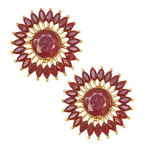 Pahal Pendientes tradicionales de oro redondo Kundan de color rojo oscuro Jhumka, joyería de novia para mujer