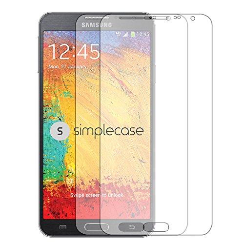 Simplecase Panzerglas passend zu Samsung Galaxy Note 3 neo , Premium Bildschirmschutz , Schutz durch Extra Festigkeitgrad 9H , Hülle Friendly , Echtglas / Verb&glas / Panzerglasfolie , Transparent - 2 Stück