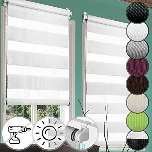 Jago Doppelrollo Seitenzugrollo Klemmrollo in verschiedenen Farben & Größen, Seitenzugrollo inkl. Montagematerial (80 x 150 cm)