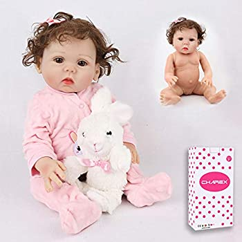 CHAREX Reborn Baby Doll 16 inch Full Body Silicone Baby Girl Lifelike Realistic Newborn Waterproof Washable Dolls for Age 3+