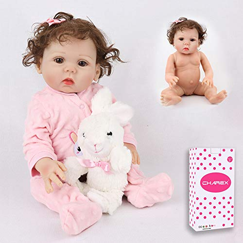 CHAREX Reborn Baby Doll, 16 inch Full Body Silicone Baby Girl, Lifelike Realistic Newborn Waterproof Washable Dolls for Age 3+
