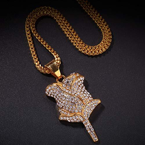 Trendiger Edelstahl-Rosen-Anhänger mit Diamanten, Geburtstagsgeschenk, Herren-Accessoires, Hip-Hop-Schmuck (Gold), Schmuck, 123, farbe, zhengfan