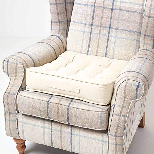 Homescapes großes Sitzkissen 50 x 50 cm, Creme-weiß, Sitzpolster für Sessel und Sofas mit Tragegriff und Baumwollbezug, gepolstertes Matratzenkissen, 10 cm hoch