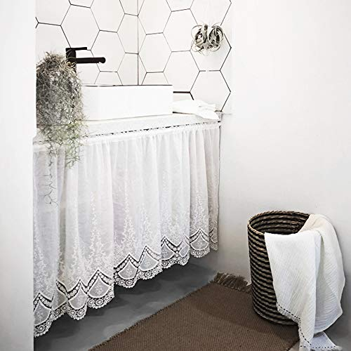 HMM Kitchen Curtain White Cafe Curtains 100% Cotton Tier Curtains for Kitchen Hollow Design Bistro Curtains with Lace Blackout Curtains/35x23in/56x23in
