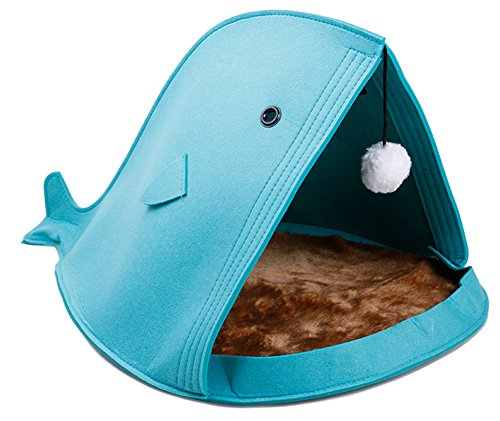 JPTACTICAL Comfortable Tubular Cat Bed Cave House | Pet Tent Soft Cats Bed | Self-Warming Cat and Dog Bed Cushion Improved Sleep Pet Bed (Blue)