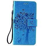 C-Super Mall-UK® LG K10Coque, Relief Arbre Chat Motif Papillon PU Cuir Portefeuille avec Support...