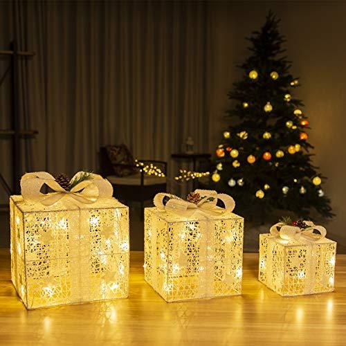 GIGALUMI Set di 3 scatole regalo illuminate Scatole LED pre-illuminate Ornamenti regali illuminati con tinsel e fiocco per decorazioni per feste (bianco)