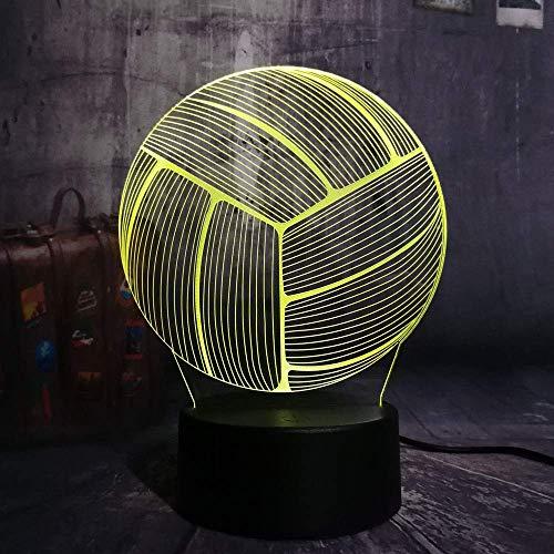 Lampada da pallavolo sportiva 3D Illusion per bambini Ragazzi Ragazze Regalo 3D Luce notturna per camera da letto accanto al tavolo, 16 cambia colore Lampada da tavolo a LED Lampada da tavolo Reg
