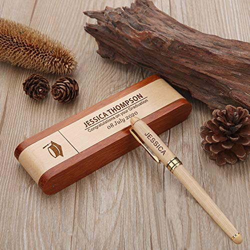 EDSG Personalisierbarer Kugelschreiber aus natürlichem Holz mit Geschenk-Box - personalisierbare Lasergravur, Geschenk für Frohe Weihnachten, Lehrer, Geburtstag. Design 6