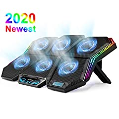 【6 Quiet Fans with Blue Lights】Laptop cooling pad has 6 noise-free fans, with blue LED, not only beautiful but also show fan is working. With 2900 RPM high fan speed, it can rapid cooling to prevents your laptop from overheating. 【Stepless Fan Speed ...