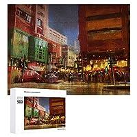 ストリートシティアーバンシティスケープ 500ピースのパズル木製パズル大人の贈り物子供の誕生日プレゼント1000ピースのパズル