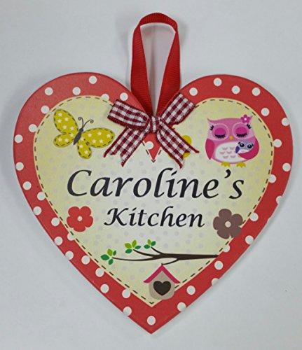 Caroline nommé personnalisé en forme de cœur Kitchen Plaque magnétique par Sterling effectz