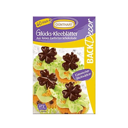 BackDecor | Dekor Kleeblätter | aus feiner Zartbitter Schokolade | für deine Kuchen und CupCakes