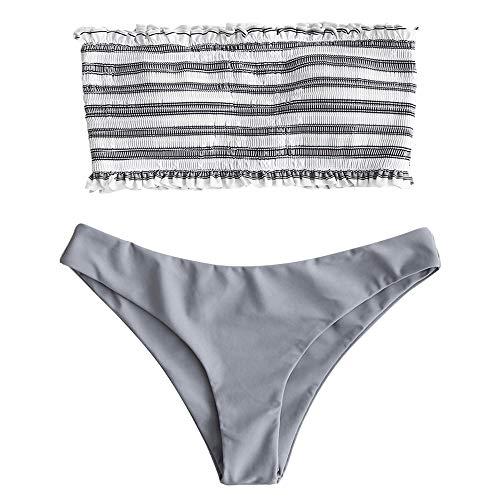 ZAFUL Frauen Zweiteiler trägerlos gestreift gekräuselten Bandeau Bikini Set (M, GRAU)