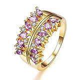 YAZILIND púrpura cúbicos Zirconia Anillo Flor Hueco Forma Oro Plateado Compromiso Boda Joyas Regalo para Mujeres tamaño 19, 5