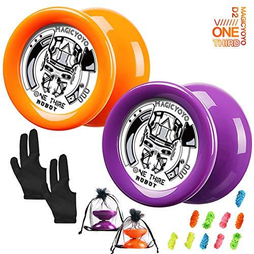 MAGICYOYO Responsive Yoyo Pack of 2, D2 ONE Third Kids Yoyo, Durable Plastic Yoyo with Narrow C Ball Bearing, Great for Beginners + Extra 2 Yoyo Sacks + 10 Yoyo Strings + 2 Gloves ( Orange Purple)