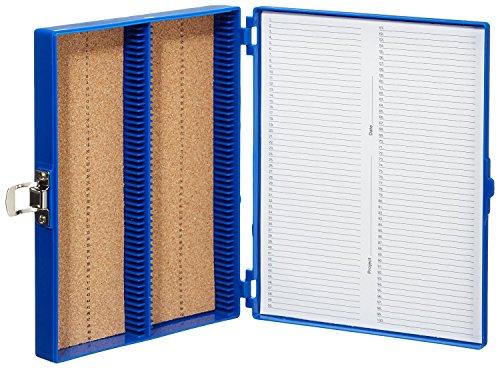 Heathrow Scientific HD15994A Blue Cork Lined 100 Place Microscope Slide Box, 8.25' Length x 7' Width x 1.3' Height
