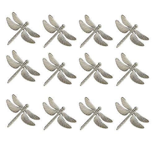 Servilleteros, 12 PCS Anillos de servilleta de libélula, anillo de la servilleta de la servilleta de la aleación de zinc para el hotel Body Holiday Table Cena Decoración para la decoración de la mesa