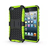 luolnh IPod Touch 5/6 Case, 2 in 1 Hybrid Armor Cover Tough Protective Hard Kickstand Phone Case for Apple iPod touch 5th/6th Generation(Green)