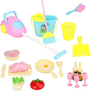 Barwa 22 Items for 11.5 Inch 30 cm Dolls: 7 Items for Cleaning Supplies + 15 Items for Kitchen Supplies